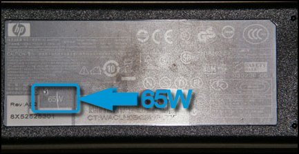 Wattage highlighted  on the power adapter, 65W