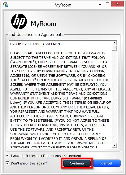 Image of the HP MyRoom End User License Agreement