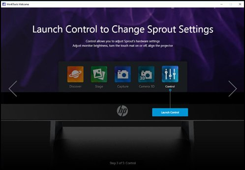 Launch Control to change Sprout  settings with Control selected