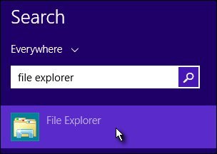 Search field with File Explorer selected
