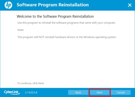 Software Program Reinstallation with Next selected
