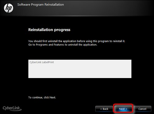 The Reinstallation progress screen, with Next encircled in red