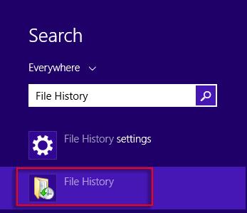 Image of search results for File History