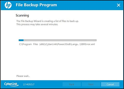 Scanning for files to backup