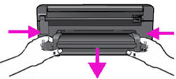 Illustration: Press in the tabs on the left and right sides of the duplexer, and then pull the duplexer away from the product.