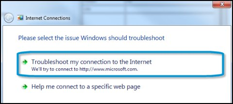 Troubleshoot my connection to the Internet highlighted