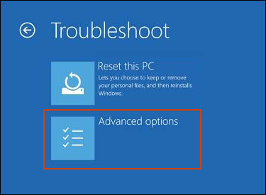 Advanced options selected in the Troubleshoot menu