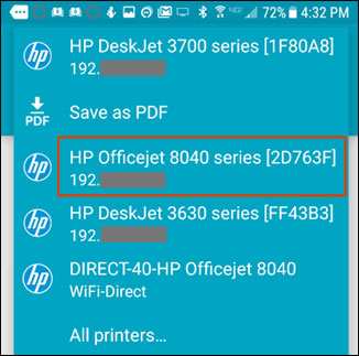 Selecting a network-connected printer
