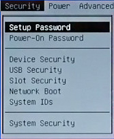 Security menu