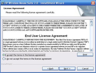 Image of the license agreement screen for the Mouse Control Center application.