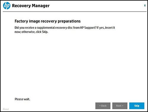 Factory Image recovery preparations screen asking you to insert the disc from HP