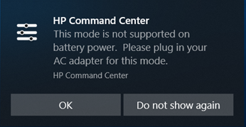Plug in AC adapter reminder screen