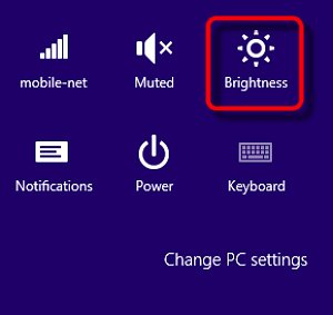Windows 8 settings with Brightness selected