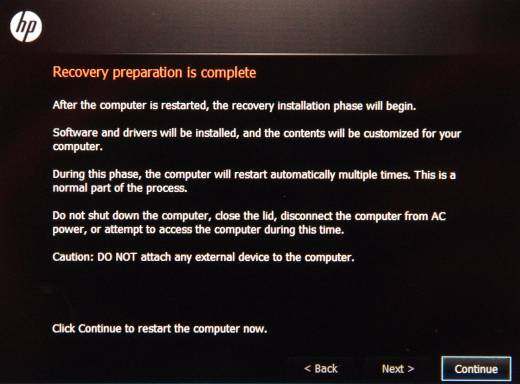 Recovery preparation is complete screen with Continue button selected.