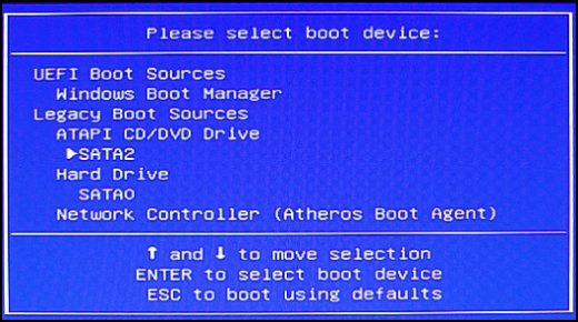Boot device selection screen