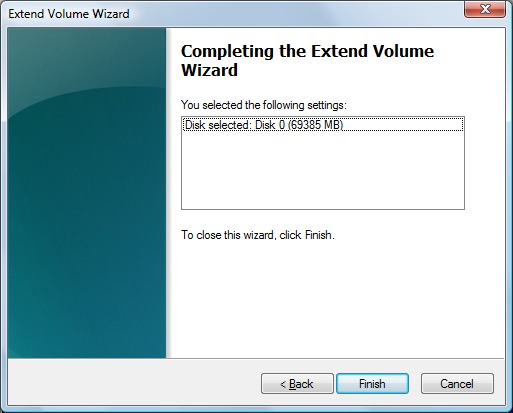 Image of the Extend Volume Wizard.