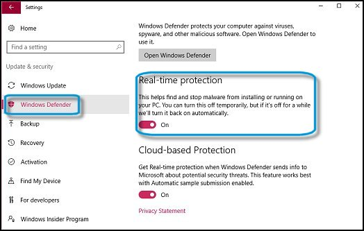 Windows Defender 已開啟