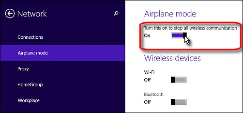 The airplane mode page in the Network settings menu, with a mouse pointer turning  airplane mode on.