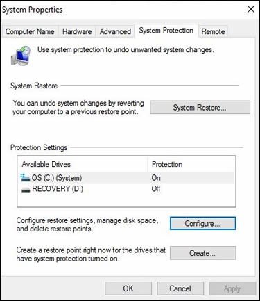 Clicking Configure on the System Protection tab