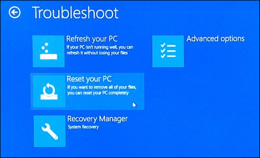 Troubleshoot Screen with Reset your PC selected