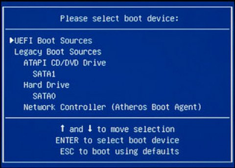 Select boot device
