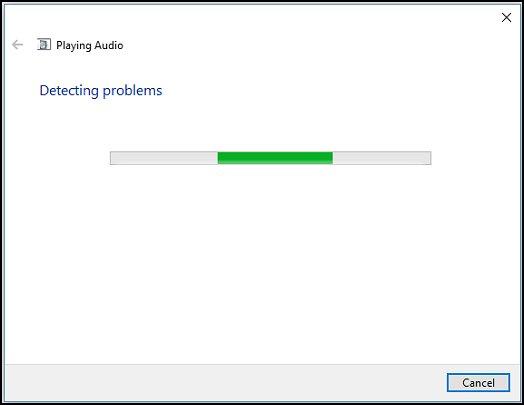 A ferramenta de solução de problemas detectando problemas de áudio