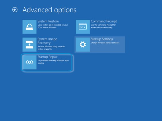 Advanced options screen with Startup Repair selected