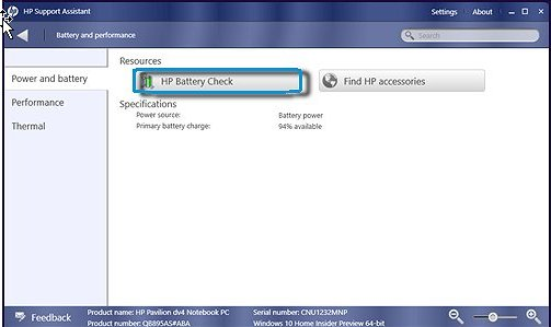 HP Battery Check selected