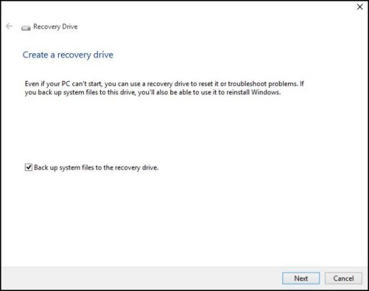 Recovery Drive window showing Create a recover drive