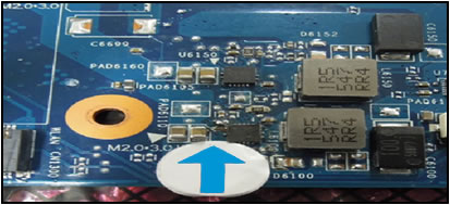 Example of missing pads on the motherboard