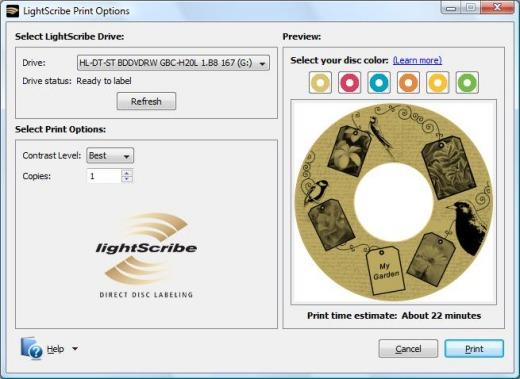 Lightscribe labeler