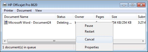 "The Windows print spooler window showing a document with the status of ""Deleting""."