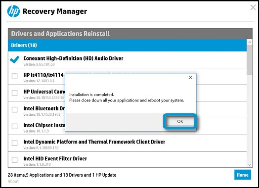 Driver installation is completed in HP Recovery Manager