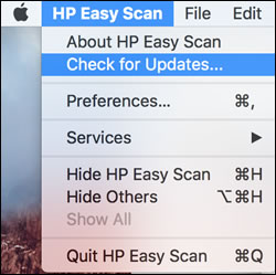 Checking for updates in HP Easy Scan