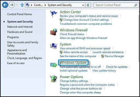 System and Security window  with Windows update selected