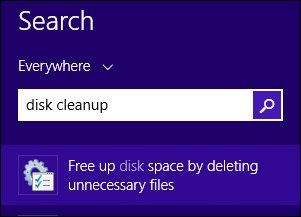 The field to search for Free up disk space by deleting unnecessary files, with disk cleanup entered into the search field