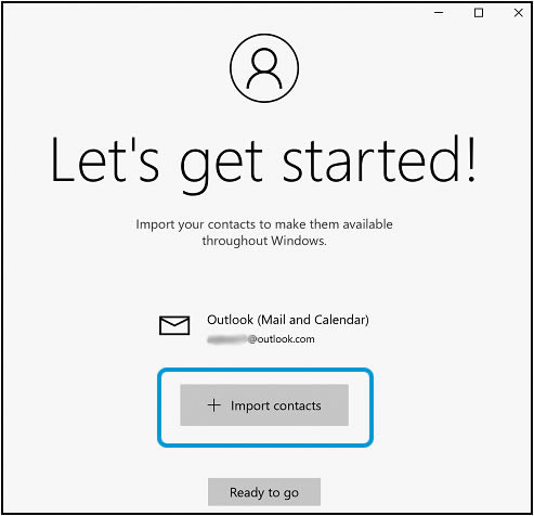 Clicking Import contacts on the Let's get started! window