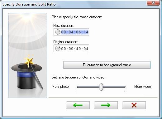 Image of the Specify Duration and Split Ratio window