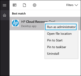 HP Cloud Recovery Tool with Run as administrator selected