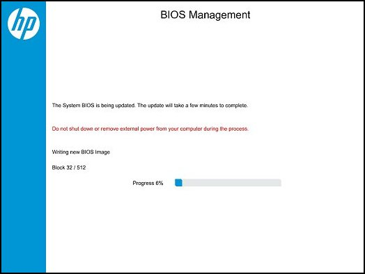 BIOS Management: Writing new BIOS image progress