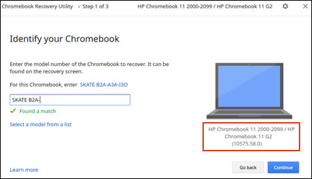 Locating the product information in the Identify your Chromebook screen