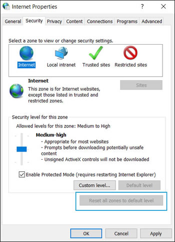 The Internet Properties window with Reset all zones to default level highlighted