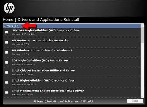List of drivers to reinstall