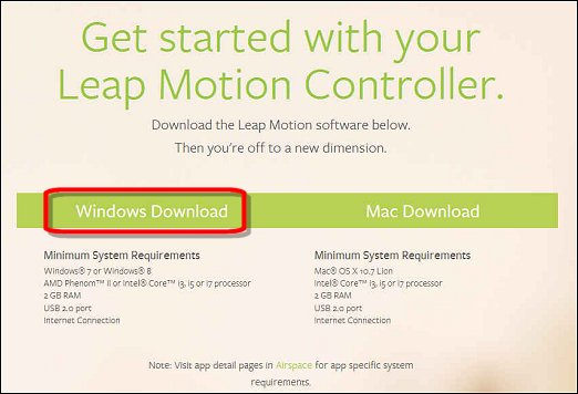 Download Leap Motion for Windows from the Leap Motion set up web site