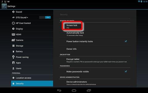 Screen lock in the Security settings menu