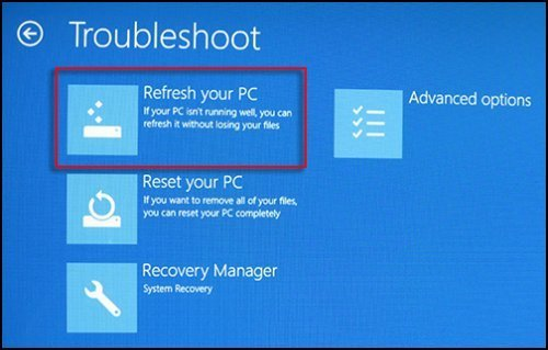 Image of Troubleshoot screen with Refresh your PC selected