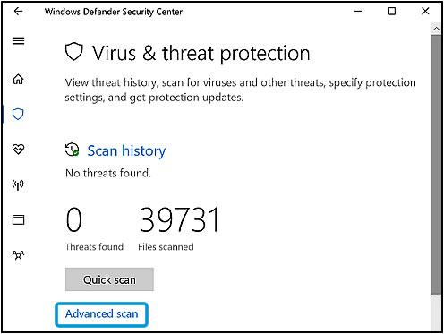 Virus & threat protection screen with Advanced scan option