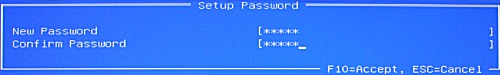 Setup Password screen