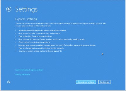 Settings window showing a list of Express settings