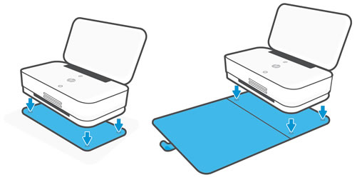 Aligning the printer on the tray or wrap